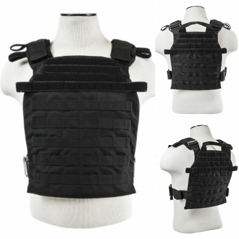 ARMORED VEST Bulletproof Carrier Army Tactical Police SWAT M-XXL Black NO PLATES
