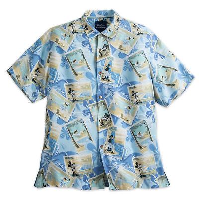 Disney Collection Tommy Bahama MIckey & Friends Silk Blue T Shirt Sz Medium M