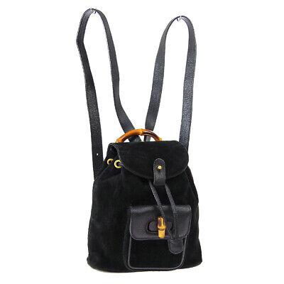 GUCCI Bamboo Backpack Hand Bag Black Brown Purse Nubuck Leather Vintage AK43166