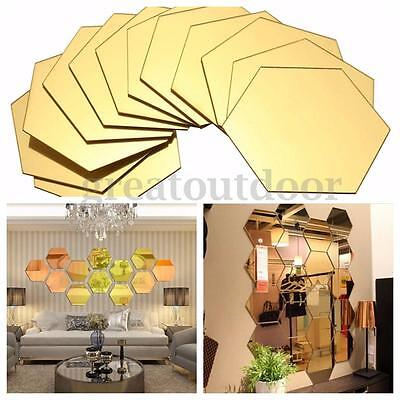 12Pcs 3D Mirror Hexagon Vinyl Removable Wall Sticker Decal Home Decor Art