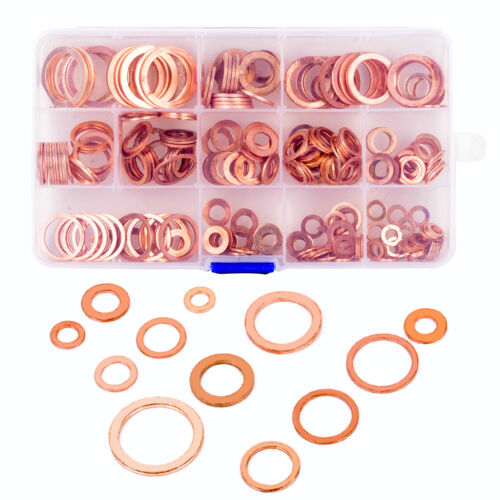 280x M5-6-8-10-12-14-16-20 Assorted Solid Brass Crush Washers Seal Flat Ring Kit - $17.69