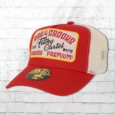 Weiß Mesh Cap (Yakuza Premium Trucker Cap Fifth Cartel rot weiss Mesh Hat Mütze Haube Basecap)