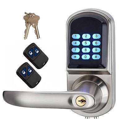Electronic Keyless Deadbolt Doorlock Unlock W/Code+Remote Control&Mechanical Key