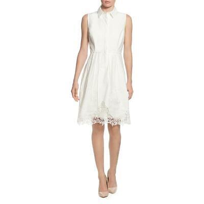 T Tahari Womens Lace Trim Embroidered A-Line Shirtdress BHFO 6975