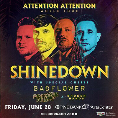 SHINEDOWN ATTENTION ATTENTION WORLD TOUR 2019 NEW JERSEY CONCERT POSTER - $10.99