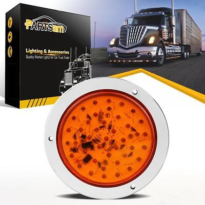 4 inch 40 LED Round Amber Yellow Stop Tail Turn Signal marker light Flange Mount