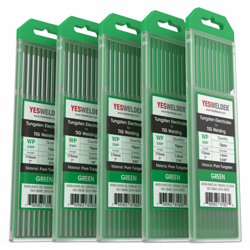 """10-pk TIG Welding Tungsten Electrode Pure(Green, WP) .040""""-5/32"""" by 7"""" length"""