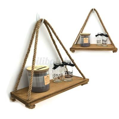 Wall Hanging Shelf Wood Rope Swing Shelves Baby Kids Room Storage Tassel Decor