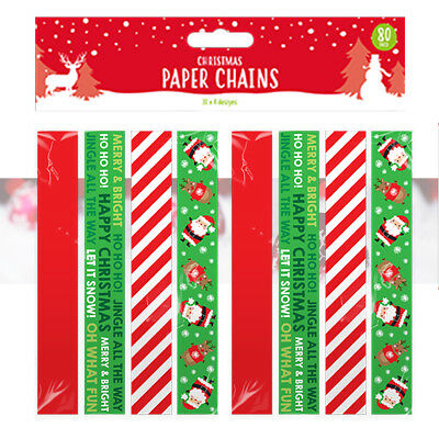 80 CHRISTMAS PAPER CHAINS Self Adhesive Printed Xmas Decorations Crafts Coloured - Halloween Paper Chain Crafts