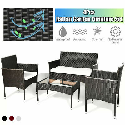 Garden Furniture - Rattan Garden Furniture Set 4 Piece Chairs Sofa Outdoor Dining Table Bench Patio