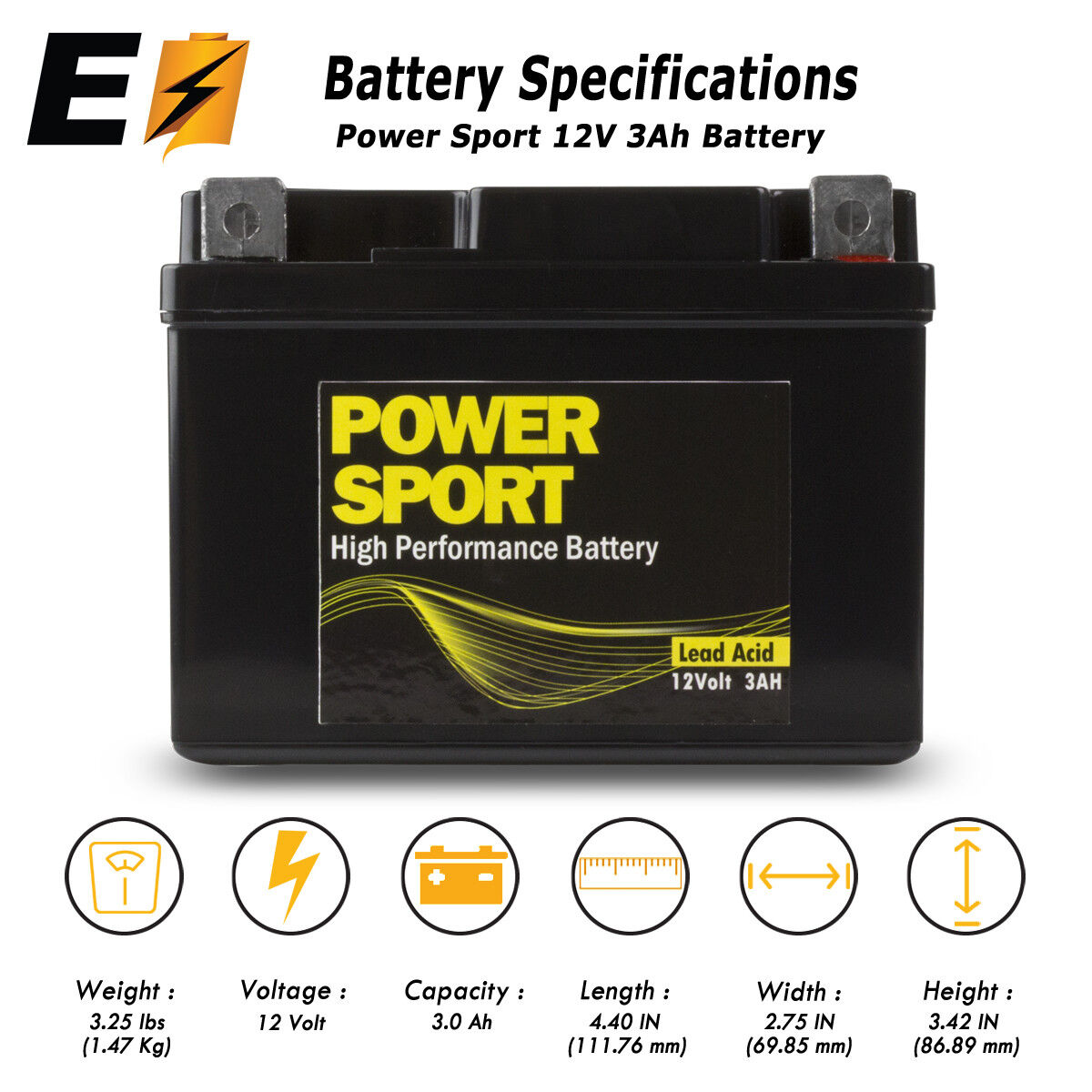Replacement YTX4L-BS 12V 3Ah Battery for Motorcycle Scooter