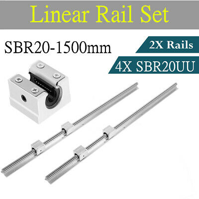 2set Sbr20-1500mm Linear Rail Fully Supported Shaft Rod 4 Sbr20uu Block Bearing