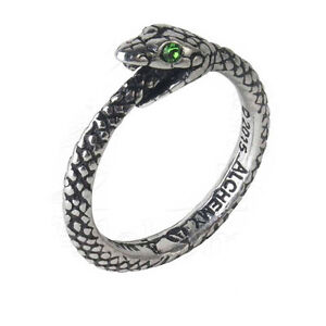 Gothic Pewter Green Crystal Sophia Serpent Ouroboros Ring Uk Made R