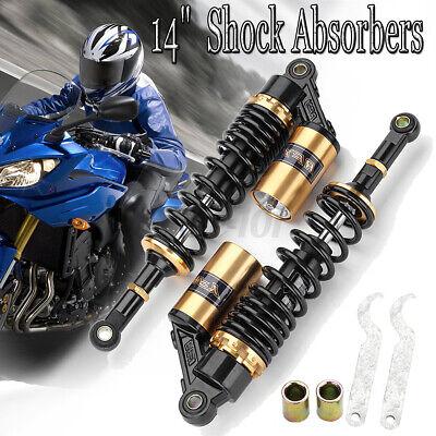 1 Paar 360mm 14 Zoll Motorrad Stoßdämpfer Federbein Shock Absorber ATV Schwarz