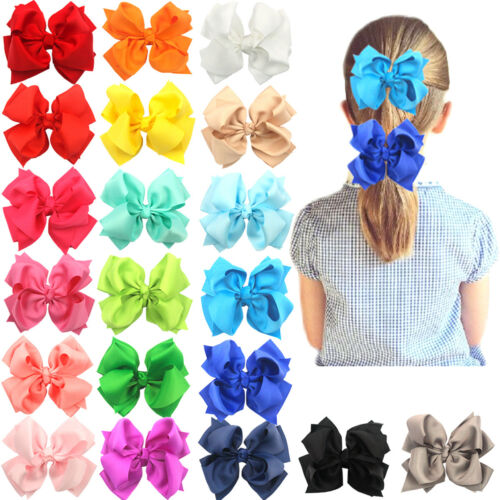 "20Pcs Boutique Girls Kids Children 4"" Grosgrain Ribbon Hair Bows Alligator Clips"