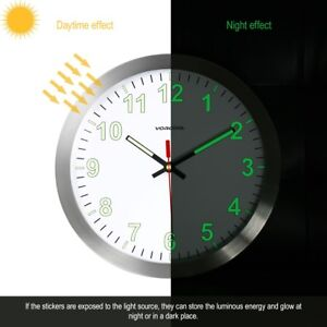 VORCOOL 30cm Wall Clock Metal Luminous Non-ticking Quartz Battery Nightlight New
