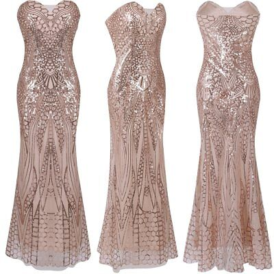 Sequin Formal Wedding Bridesmaid Long Evening Cocktail Ball Prom Gown Maxi Dress