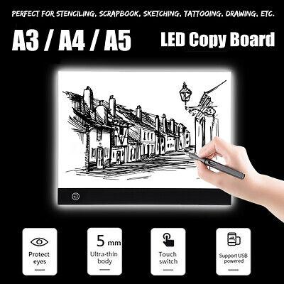 LED Tracing Light Box Board Art Tattoo A3 A4 A5 Drawing Copy Pad Table+USB