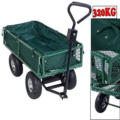 Garden Cart Truck Trolley 4 Wheel Wheelbarrow Trailer Heavy Duty Pneumatic Tyre