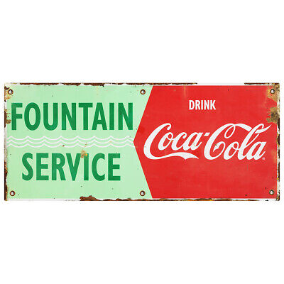 Fountain Service Drink Coca-cola Waves Wall Decal 24 X 10 Distressed