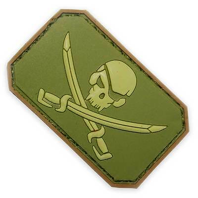 3D PVC Pirate Skull Velcro Backed Military Biker Tactical Morale Patch Green