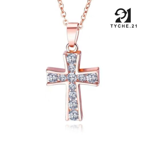 """Womens Cubic Zirconia Small Cross Pendant Necklace Rose Gold Stainless Steel 18"""""""