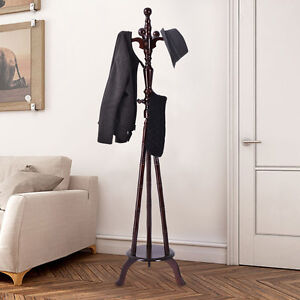 73 Free Standing Solid Wood Coat Hat Purse Hanger Tree Stand Rack Furniture New