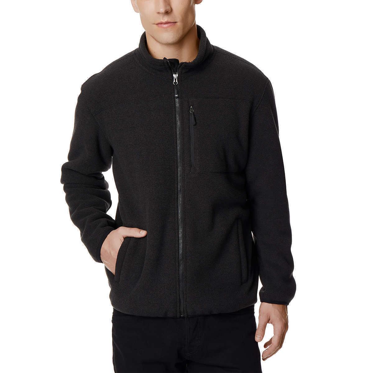 32 Degrees Heat Men Sherpa Lined Fleece Full Zip Jacket, Bla