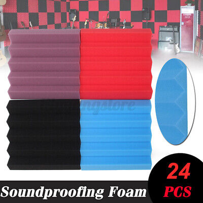 24Pack 10''x10''x2'' Acoustic Foam Panel Wedge Soundproofing Wall Tiles 3