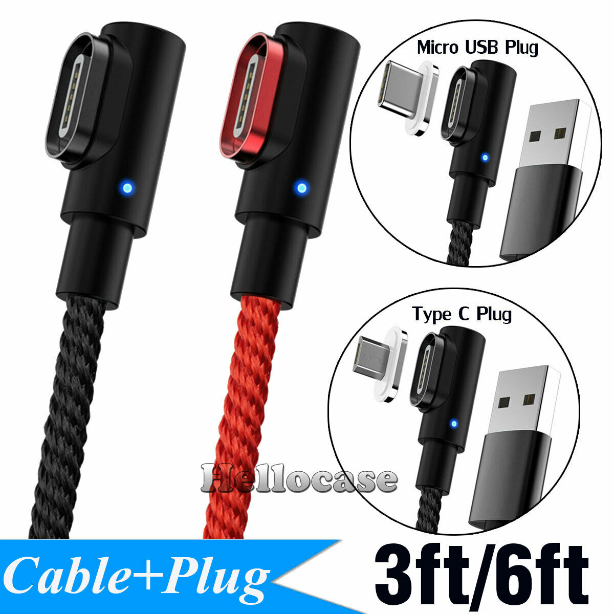 Magnetic Charger Micro USB / Type C Plug Cable For Android S