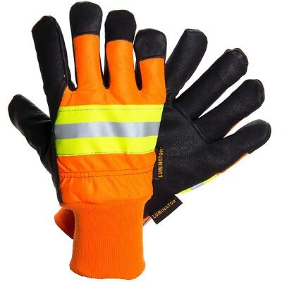 Mcr Luminator 34411 Large Pigskin Leather Water Proof Insulated Work Gloves