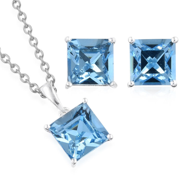 925 Sterling Silver  Crystal Earrings Chain Necklace Pendant