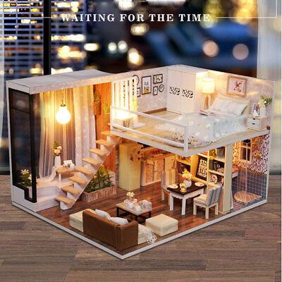 DIY Dollhouse Toy Wooden Miniature Furniture Kit LED Light Gift Waiting Time Kid