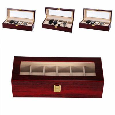 6 Grids Slot Wood Jewelry Watch Display Case Box Storage Organizer For Men Women