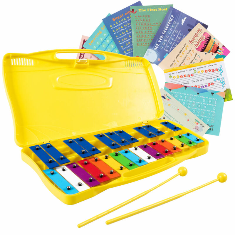 25 Notes Kids Glockenspiel Chromatic Metal Xylophone w/Yellow Case and 2 Mallets