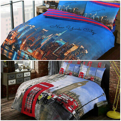 World Cities Theme NYC New York City London Bus Big Ben Duvet Cover Sets Bedding