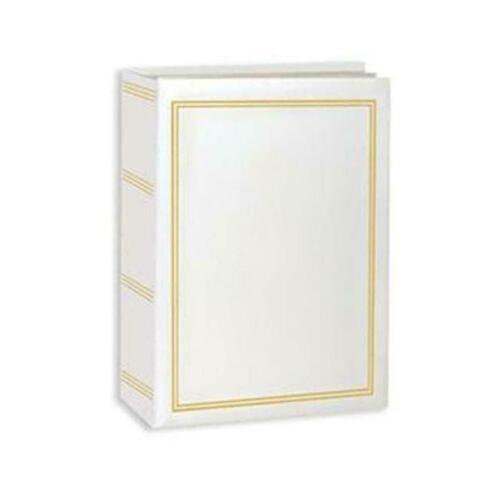 100 Book Bound Picture Photo Album (White and Gold)
