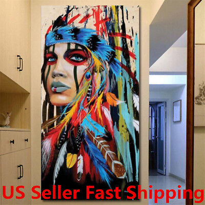 "40""x20"" Abstract Indian Woman Canvas Painting Print Picture Home Wall Art"
