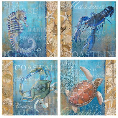 Sea Creatures Ocean Beach Wall Decal Set Vintage Style Home Decor Bundle