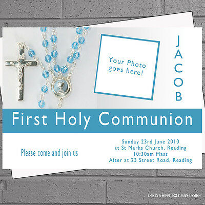 First Holy Communion Invitations Photo Boys Childrens Party x 12 +envs H0220 - First Communion Photo Invitations