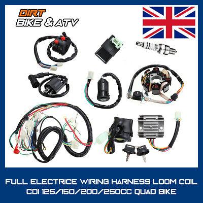 Full Wiring Harness Loom Solenoid Coil Regulator CDI 125/200/250cc ATV Pit Bike