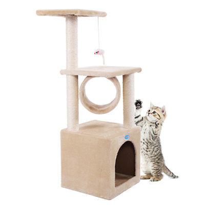 """36"""" Cat Tree Condo Furniture House Tunnel Scratcher Pet Play Toy Deluxe Beige"""