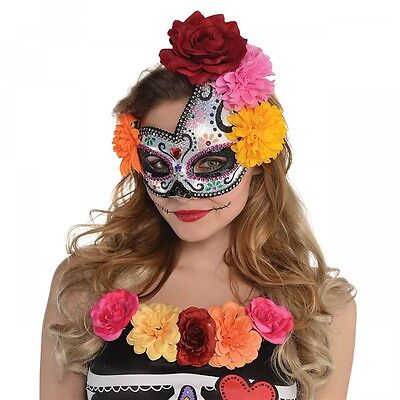 Day of The Dead Mask Adult Womens Sugar Skull Dia de Los Muertos Costume - Day Of The Dead Costume Mask