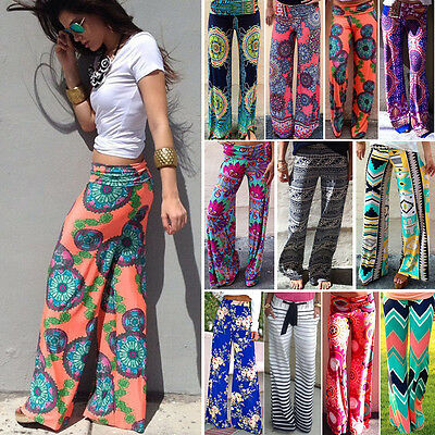 Women Harem Long Pants Hippie Wide Leg Gypsy Yoga Dance Boho Palazzo Trousers US - Hippie Woman