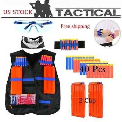 Tactical Vest Kit for Nerf Guns Clips, 40 Soft Darts, Masks, Wristbands Glasses