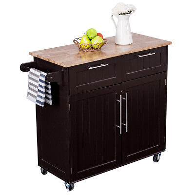 Rolling Kitchen Cart Island Heavy Duty Storage Trolley Cabinet Utility Modern