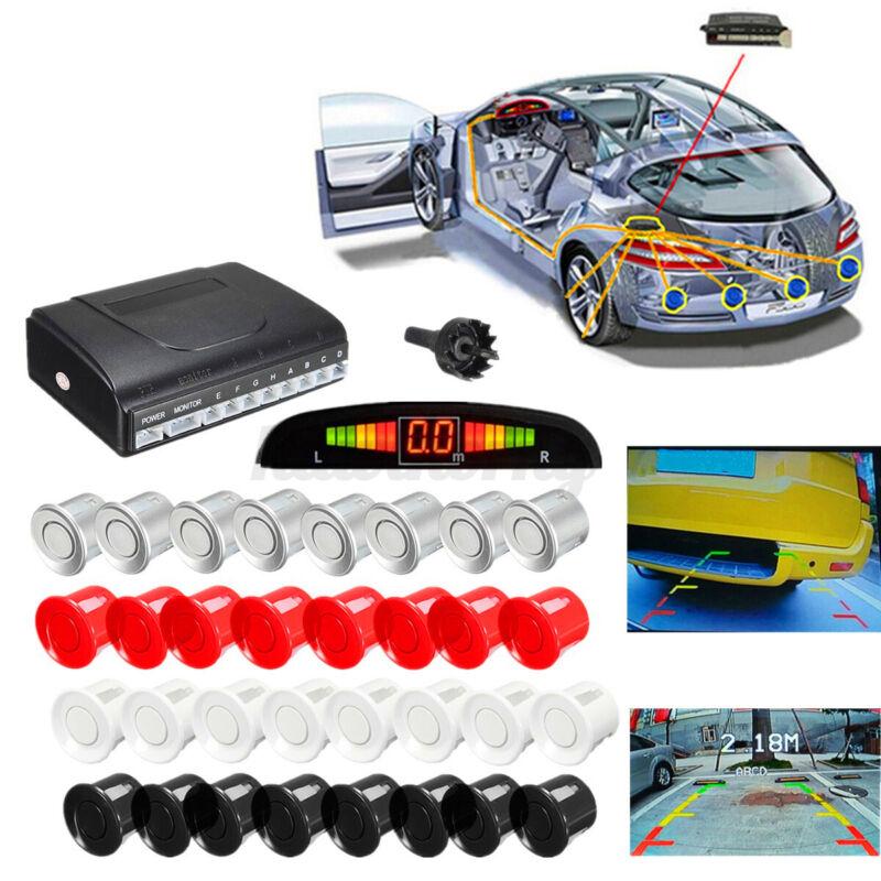 8 Sensors Front Rear Parking Sensor Car Reverse Buzzer Sound Alarm LCD Display