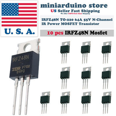 10pcs Irfz48n Irfz48 Mosfet Power Transistor Fast Switching Hexfet 64a 55v Usa