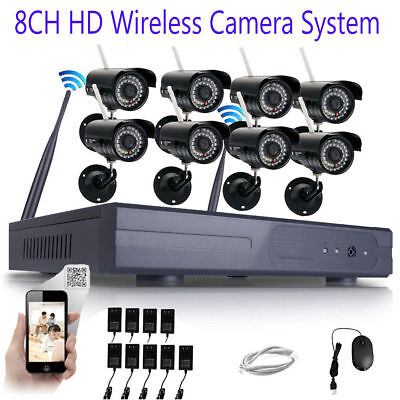 Wireless 1080P 8PCS 8CH NVR 720p IP Outside/Indoor Security Camera System CCTV