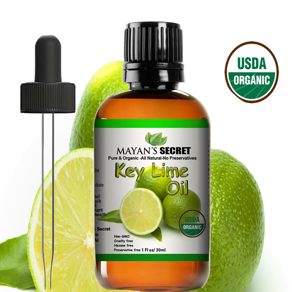 Mayan's Secret USDA Certified Organic Key Lime Essential Oil for Diffuser & Reed Aromatherapy